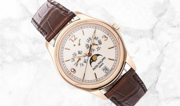 Patek Philippe Complications 5146R-001 Annual Calendar Moonphase Rose Gold Cream Dial