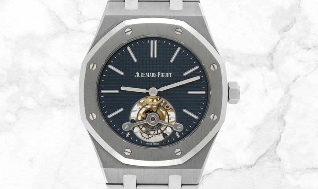 Audemars Piguet 26510ST.OO.1220ST.01 Royal Oak Tourbillon Extra-Thin Stainless steel Blue Dial