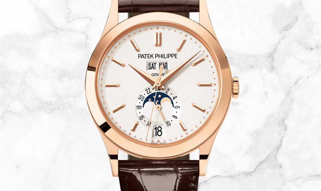 Patek Philippe Complications 5396R-011 Annual Calendar Moon Phases Rose Gold Silvery Opaline Dial