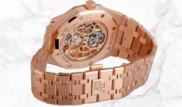 Audemars Piguet 26518OR.OO.1220OR.01 Royal Oak Tourbillon Openworked  Rose Gold Slate Grey Dial