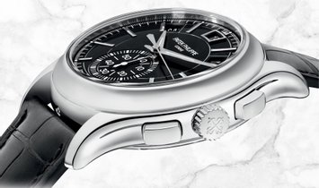 Patek Philippe Complications 5905P-010 Flyback Chronograph Platinum with Ebony Gray Dial