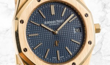 "Audemars Piguet 15202BA.OO.1240BA.01 Royal Oak ""Jumbo"" Extra Thin 18K Yellow Gold Blue Coloured Dial"