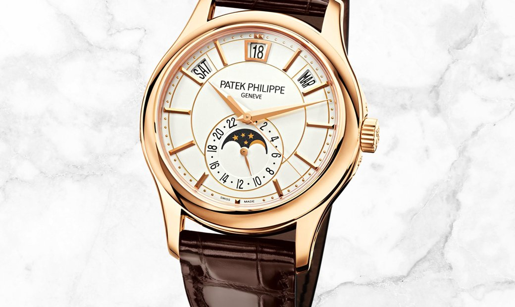 Patek Philippe Complications 5205R-001 Annual Calendar Moon Phases Rose Gold Opaline White Dial