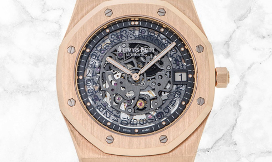 Audemars Piguet 15204OR.OO.1240OR.01 Royal Oak Openworked Extra Thin 18K Rose Gold Slate Grey Dial