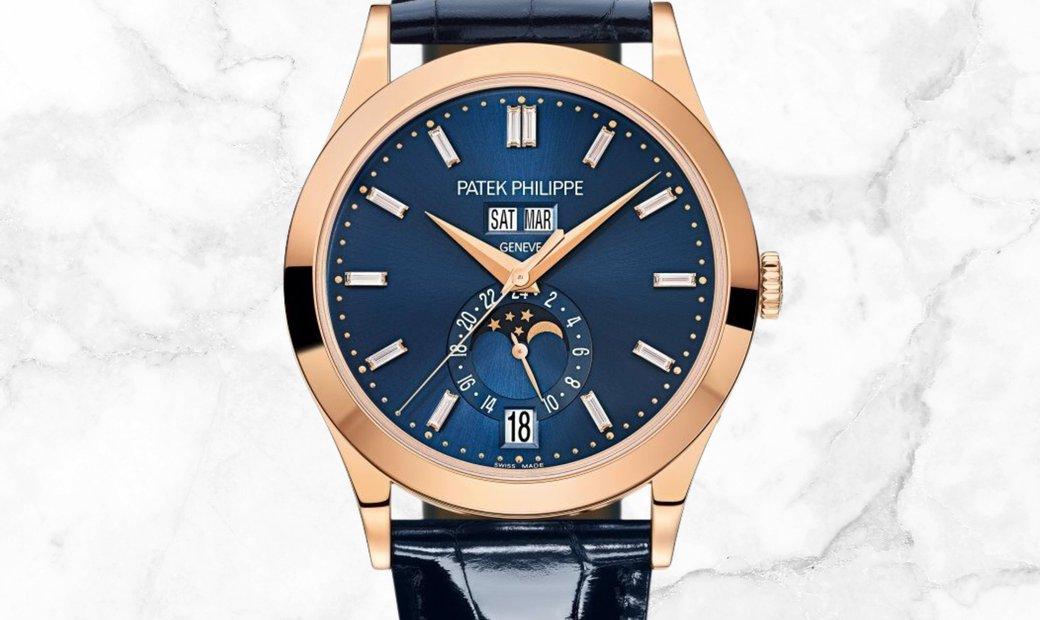 Patek Philippe Complications 5396R-015 Annual Calendar Moon Phases Rose Gold Diamond Set Blue Dial