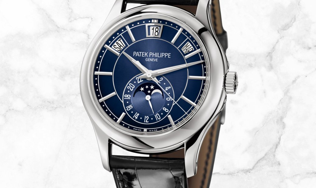 Patek Philippe Complications 5205G-013 Annual Calendar Moon Phases White Gold Blue Dial