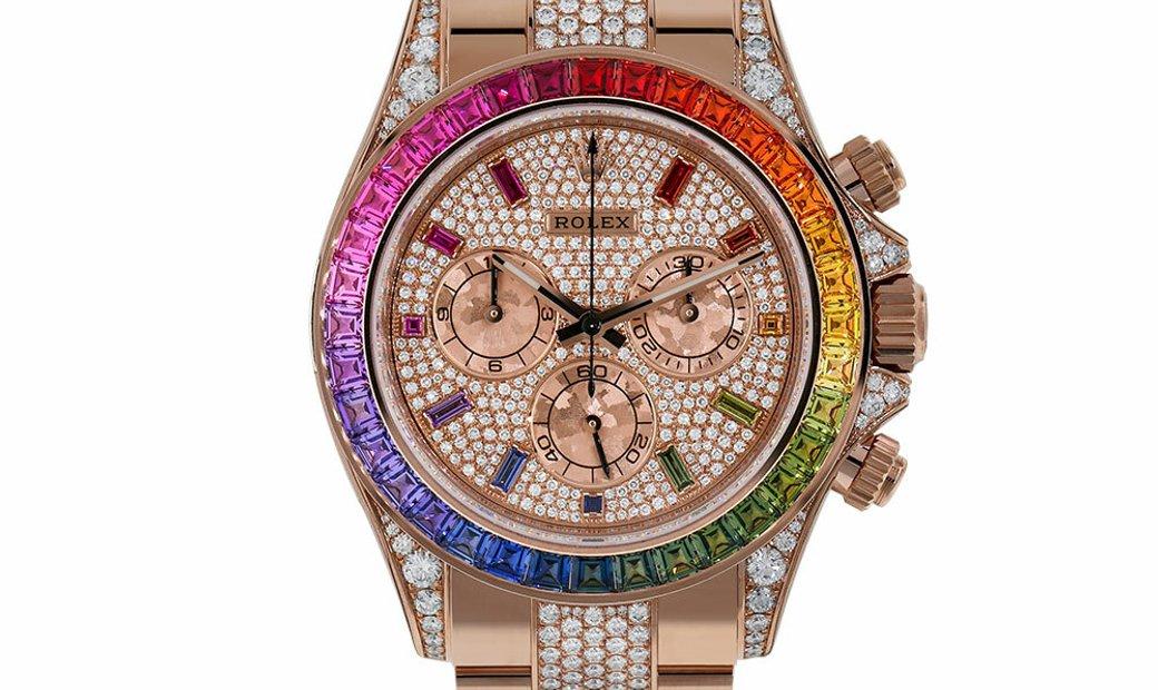 Rolex Cosmograph Daytona Factory Diamond Rainbow Edition Rose Gold Watch 116595RBOW