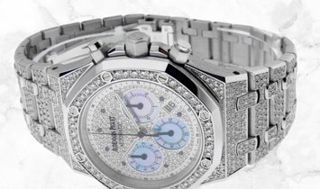 Audemars Piguet 26022BA.OO.D098CR.01 Royal Oak Chronograph 18K White Gold Diamond-paved Dial