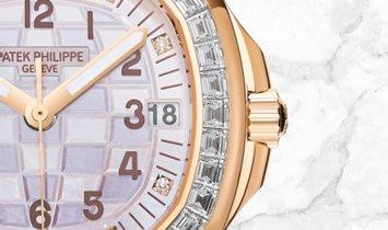 Patek Philippe Aquanaut 5072R-001 Luce Haute Joaillerie Rose Gold Diamond Set Mother of Pearl Dial
