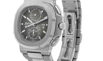 Patek Philippe Nautilus Stainless Steel Travel Time Chronograph Black Dial Watch 5990/1A-001
