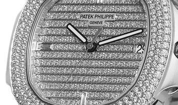 Patek Philippe Nautilus White Gold Factory Gem Set Watch 5719/1G-001