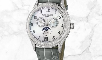 Patek Philippe Complications 4948G-010 Annual Calendar Moon Phases White Gold White MOP Dial