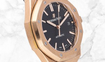 Audemars Piguet 15450OR.OO.D002CR.01 Royal Oak Selfwinding 18K Rose Gold Black Coloured Dial