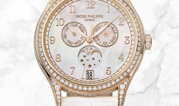 Patek Philippe Complications 4948R-001 Annual Calendar Moon Phases Rose Gold Diamond Set MOP Dial