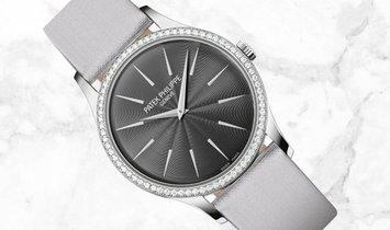 Patek Philippe Calatrava 4897G-010 White Gold Diamond Bezel Gray Dial