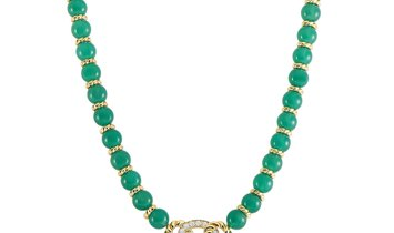 Dior Dior 18k Yellow Gold Chalcedony 0.78 ct Diamond Necklace