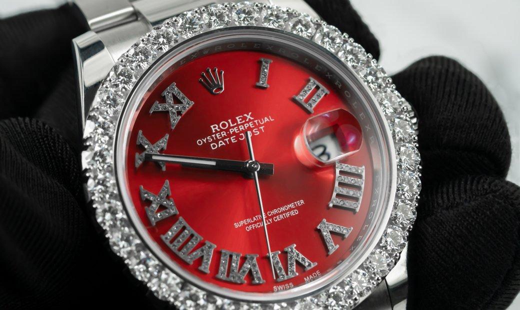 Rolex DateJust 126300 Royal Red Bespoke Piece Diamond Set