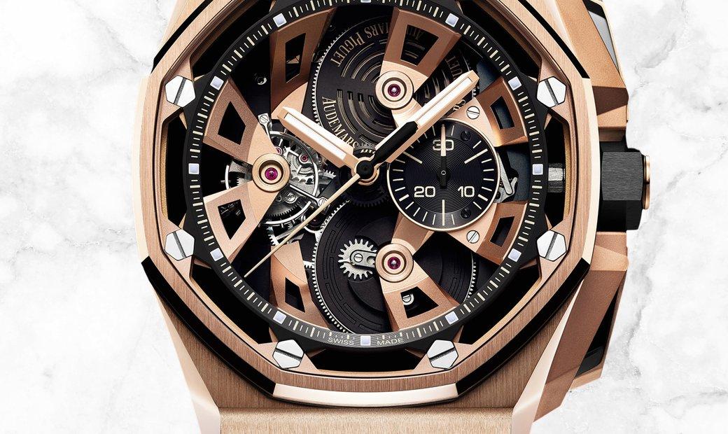 Audemars Piguet 26421OR.OO.A002CA.01 Royal Oak Offshore Tourbillon Chronograph Rose Gold Black Dial