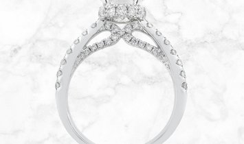 1.50 CT Round-Cut Diamond Engagement Ring Set in 18K White Gold