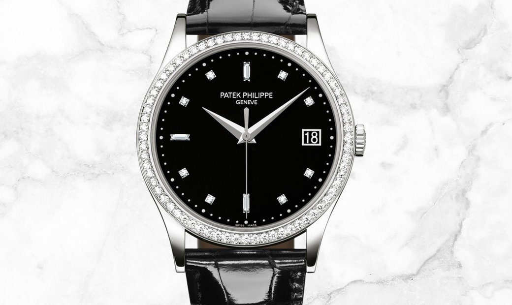 Patek Philippe Calatrava 5297G-001 Date Sweep Seconds in White Gold Diamond Bezel Black Dial