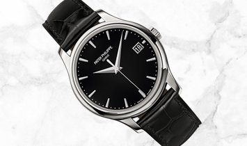 Patek Philippe Calatrava 5227G-010 Date Sweep Seconds in White Gold with Black Opaline Dial