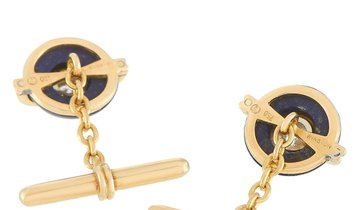 Harry Winston Harry Winston 18K Yellow Gold 0.40 ct Diamond and Lapis Cufflinks
