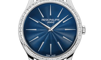 PATEK PHILIPPE CALATRAVA JOAILLERIE GUILLOCHED NIGHT BLUE DIAL 4897/300G-001