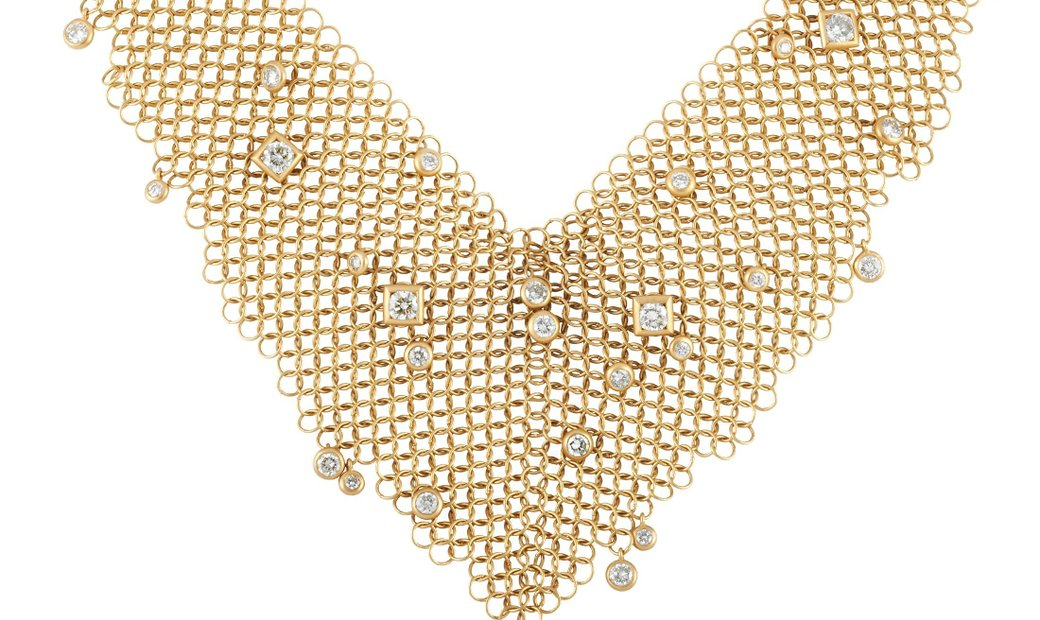 H. Stern H. Stern 18K Yellow Gold 3.00 ct Diamond Mesh Bib Necklace