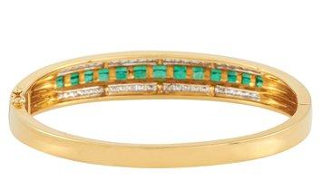 LB Exclusive LB Exclusive 18K Yellow Gold 1.43 ct Diamond and Emerald Bangle Bracelet