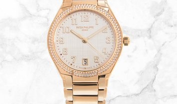Patek Philippe Twenty-4 7300/1200R-010 Rose Gold Silvery Dial Diamond Bezel