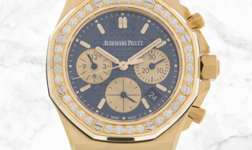 Audemars Piguet 26231BA.ZZ.D027CA.01 Royal Oak Offshore Chronograph 18K Yellow Gold Case Blue Dial