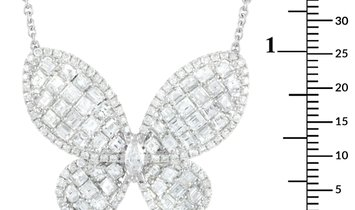 LB Exclusive LB Exclusive 18K White Gold 4.68 ct Diamond Butterfly Necklace