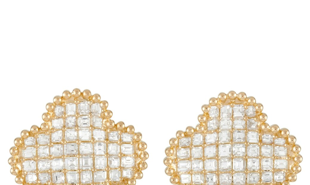 LB Exclusive LB Exclusive 18K Yellow Gold 3.34 ct Diamond Quatrefoil Earrings