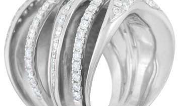 LB Exclusive LB Exclusive 18K White Gold 1.90 ct Diamond Multi-Row Crossover Ring