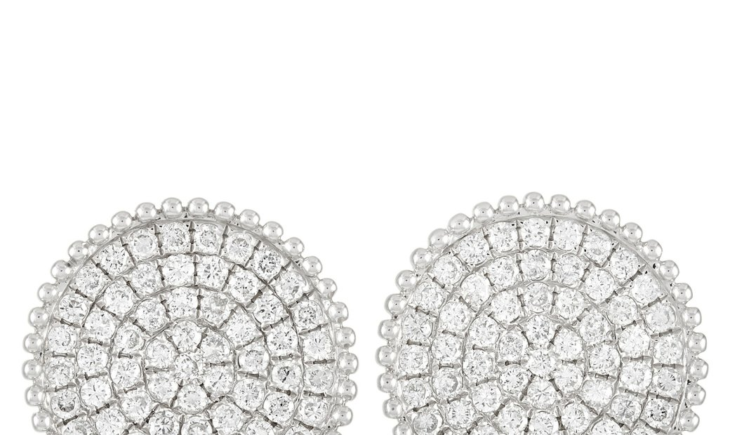 LB Exclusive LB Exclusive 18K White Gold 1.98 ct Diamond Disc Earrings