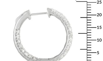 LB Exclusive LB Exclusive 18K White Gold 3.50 ct Diamond Hoop Earrings