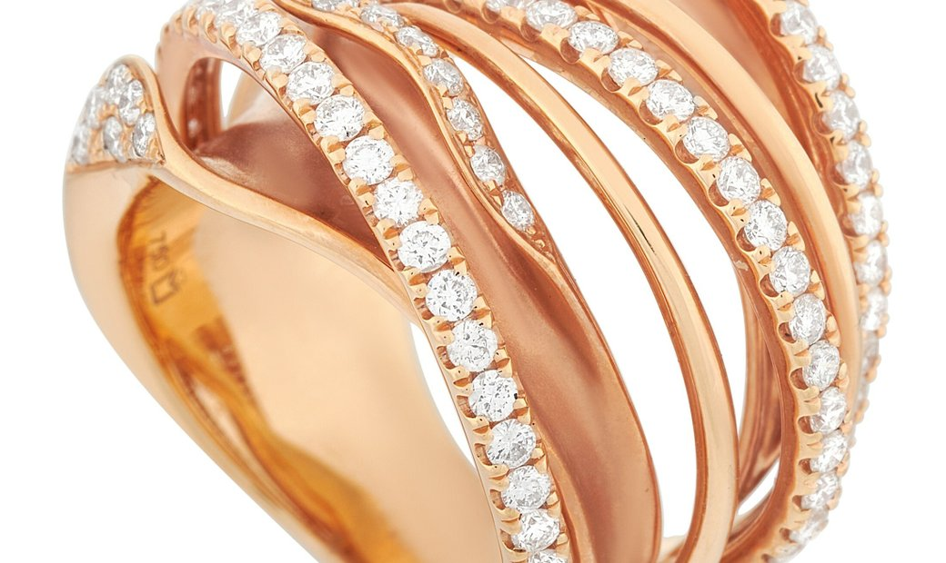 LB Exclusive LB Exclusive 18K Rose Gold 1.52 ct Diamond Multi-Row Crossover Ring