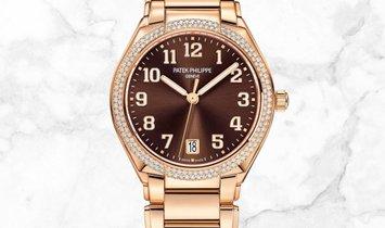 Patek Philippe Twenty-4 7300/1201R-010 Rose Gold Brown Dial Diamond Set Bezel Crown and Bracelet
