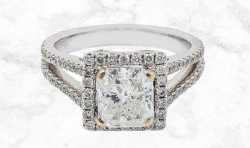 1.52 CT Asscher-Cut Diamond Engagement Ring in 18K White Gold