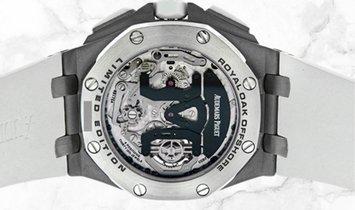 Audemars Piguet 26387IO.OO.D010CA.01 Royal Oak Offshore Tourbillon Chronograph Titanium Silver Dial