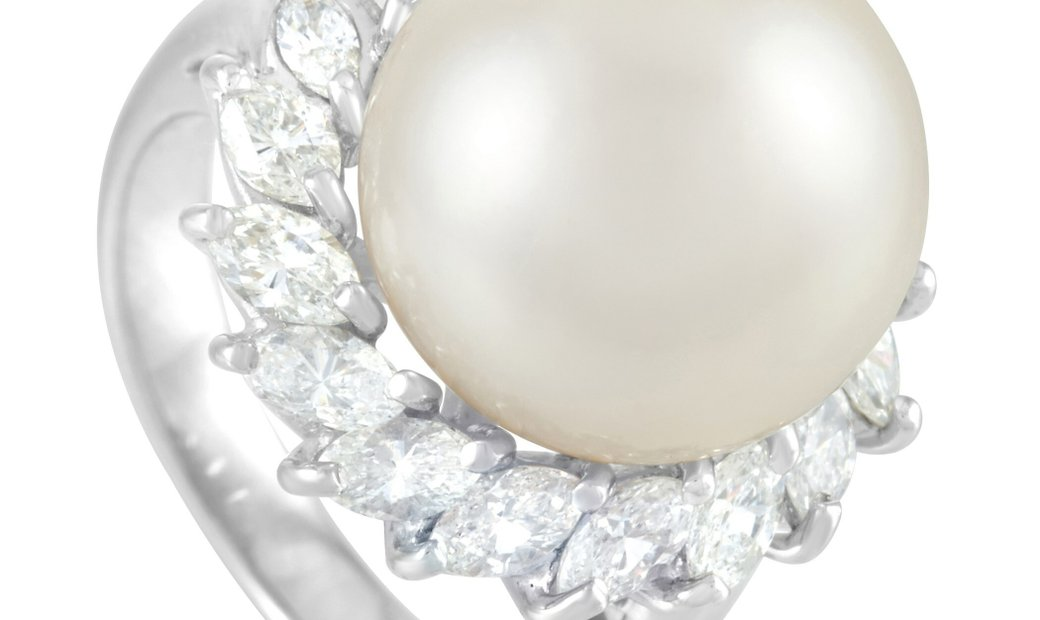 LB Exclusive LB Exclusive Platinum 1.43 ct Diamond and 13mm Pearl Ring