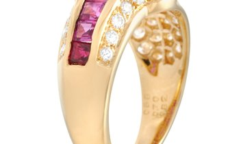 LB Exclusive LB Exclusive 18K Yellow Gold 0.82 ct Diamond and Ruby Ring