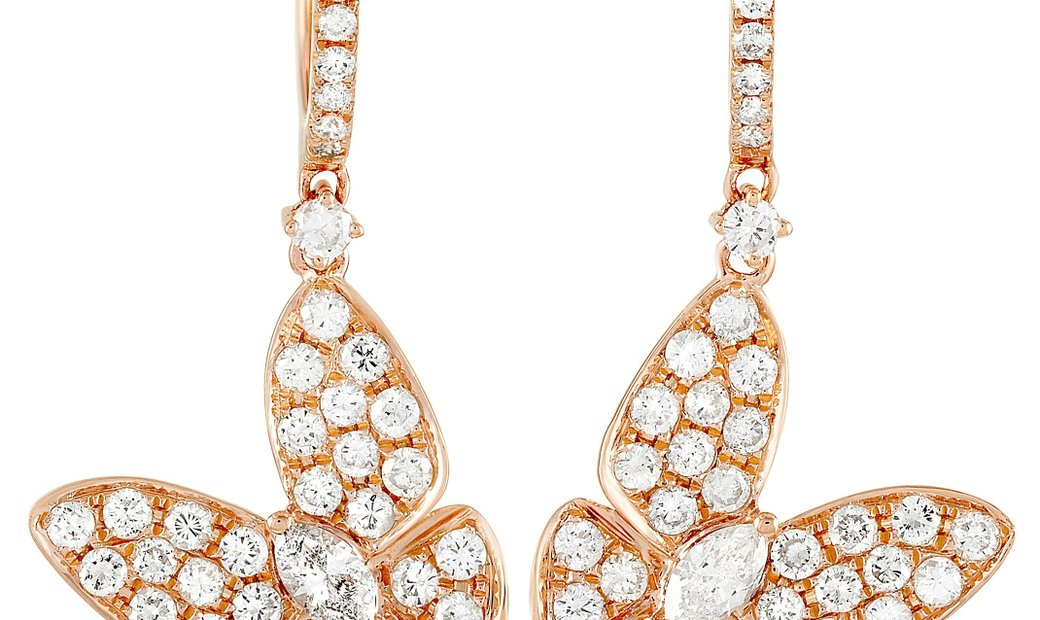 LB Exclusive LB Exclusive 18K Rose Gold 1.77 ct Diamond Butterfly Drop Earrings