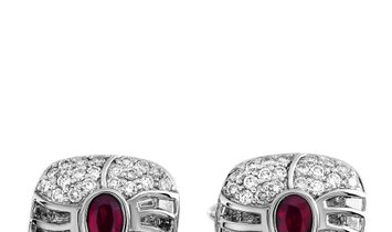 Marconi Geneve Marconi Geneve 18K White Gold ~3.00 ct Diamond and Burma Rubies Cufflinks
