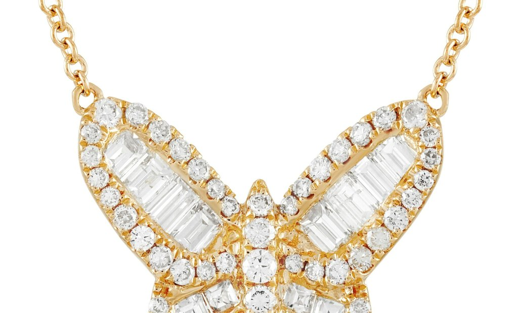 LB Exclusive LB Exclusive 18K Yellow Gold 1.34 ct Diamond Butterfly Necklace