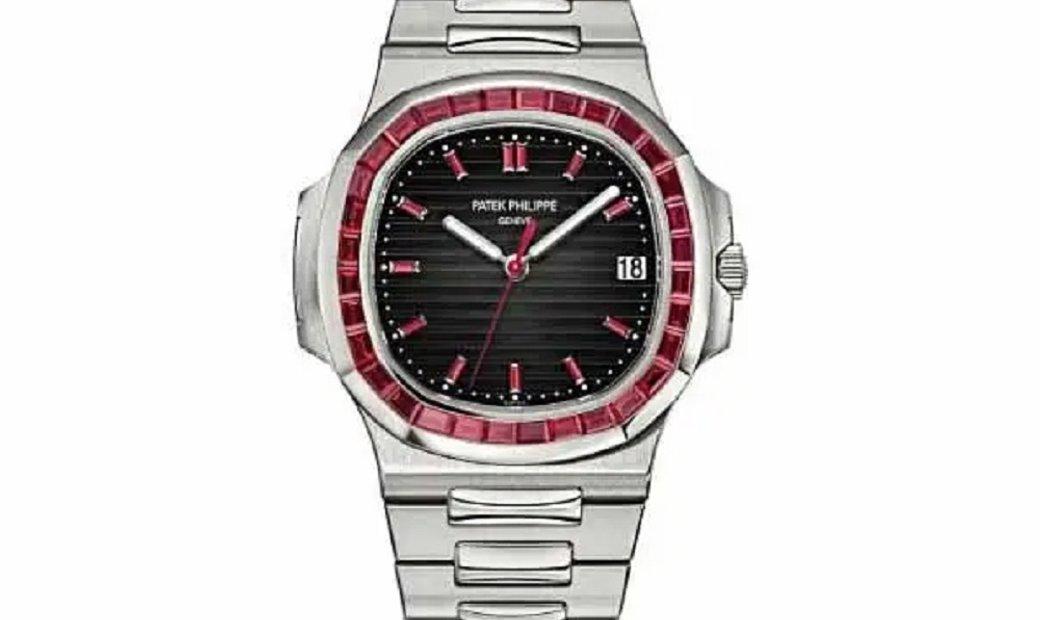 Patek Philippe Nautilus Platinum Factory Ruby Set Bezel Grey Dial Watch 5711/112P-001