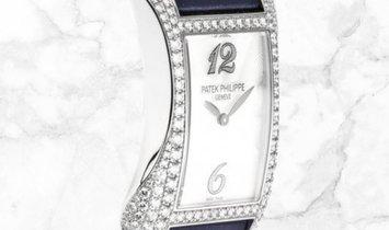 Patek Philippe Gondolo Serata 4972G-001 Quartz White Gold Diamond Set MOP Dial