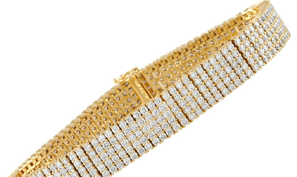 LB Exclusive LB Exclusive 18K Yellow Gold 10.59 ct Five Row Diamond Mesh Bracelet