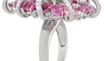 LB Exclusive LB Exclusive 18K White Gold 2.40 ct Diamond and 7.65 ct Pink Sapphire Statement Ring