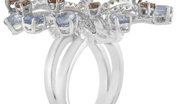 LB Exclusive LB Exclusive 18K White Gold 2.37 ct Diamond and 3.51 ct Sapphire Statement Ring
